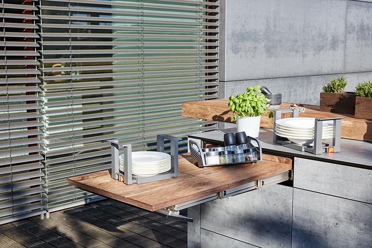 bbqtion outdoorküche insellösung zusätzliche arbeitsfläche aqua-saar